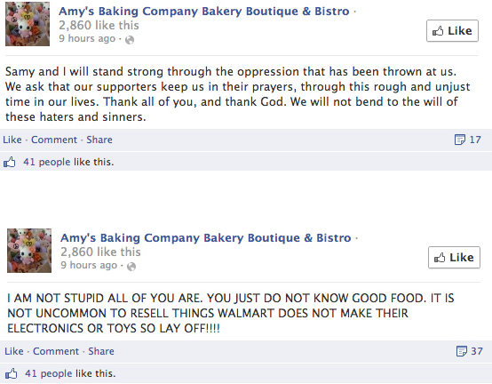 Facebook posts from Amy's Baking Company