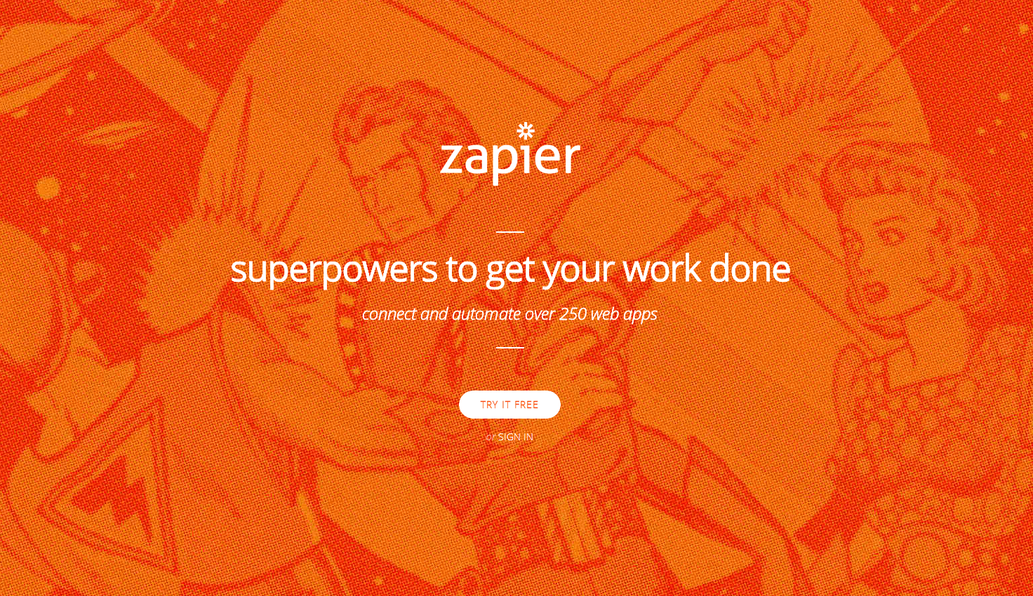 Zapier Superhero Home Page