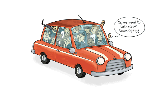 clown car style meeting