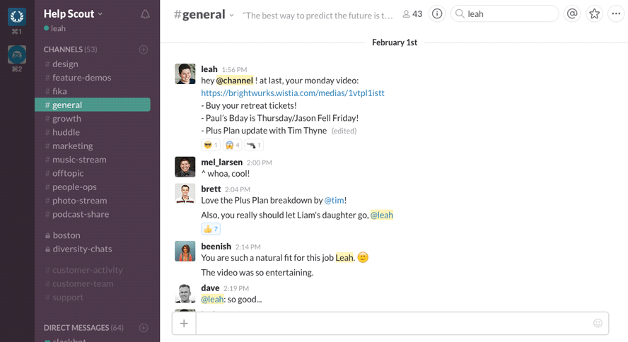The team responds to video update on Slack