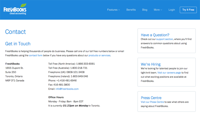 freshbooks contact page