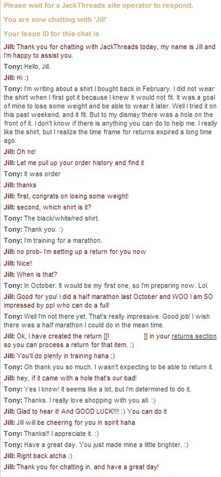 Jack Threads customer service conversation