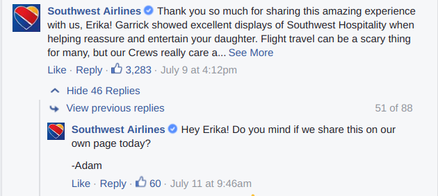 Facebook comments from Southwest