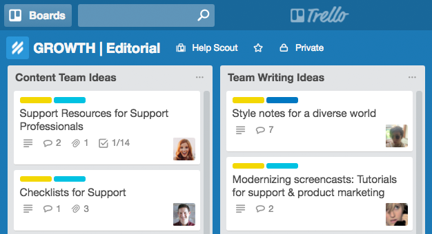 Help Scout content team idea's column in Trello