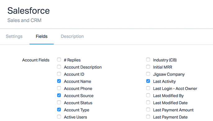 Salesforce app fields