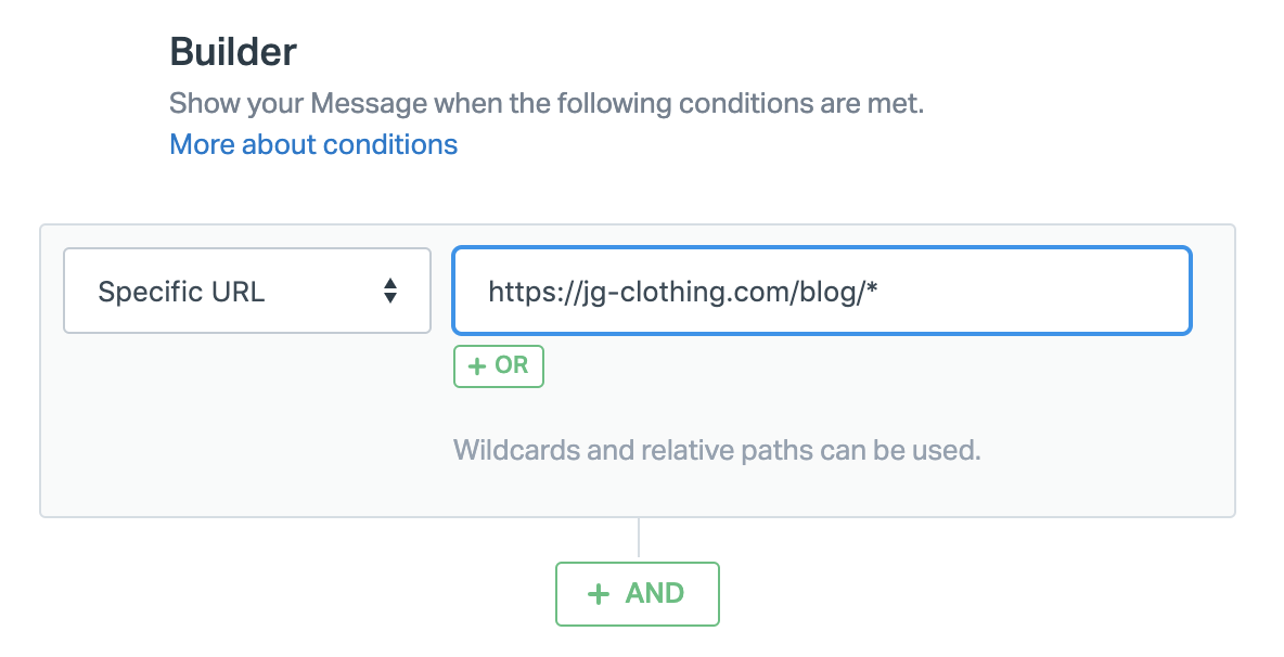 Setting a Message trigger with a Wildcard character in the URL