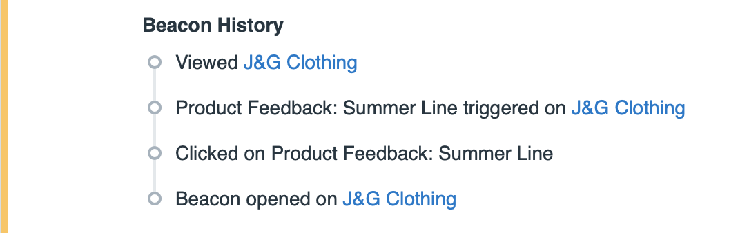 Conversation triggered by the Product Feedback: Summer Line Message