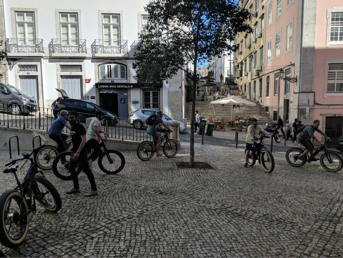 Some Scouts set off on a bike tour of Lisbon, Portugal.
