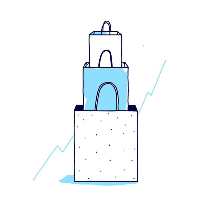 An illustration of stacked shopping bags