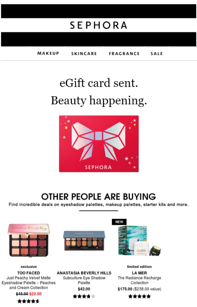 sephora upsell email example